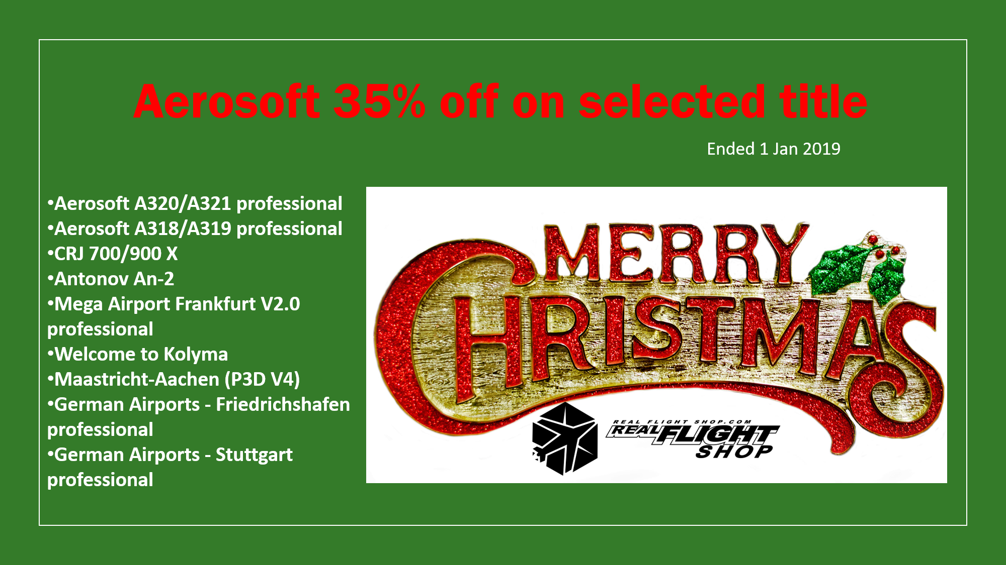 Aerosoft Christmas Sale 35% off on selected title!